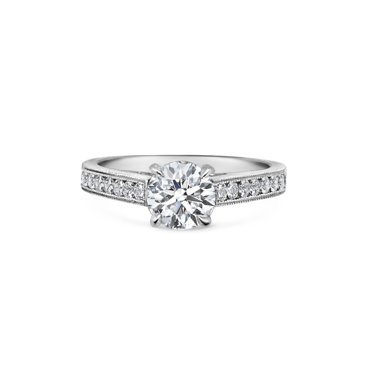 Lara Diamond Channel Set Shoulders with Double Milgrain Finish Engagement Ring Front View