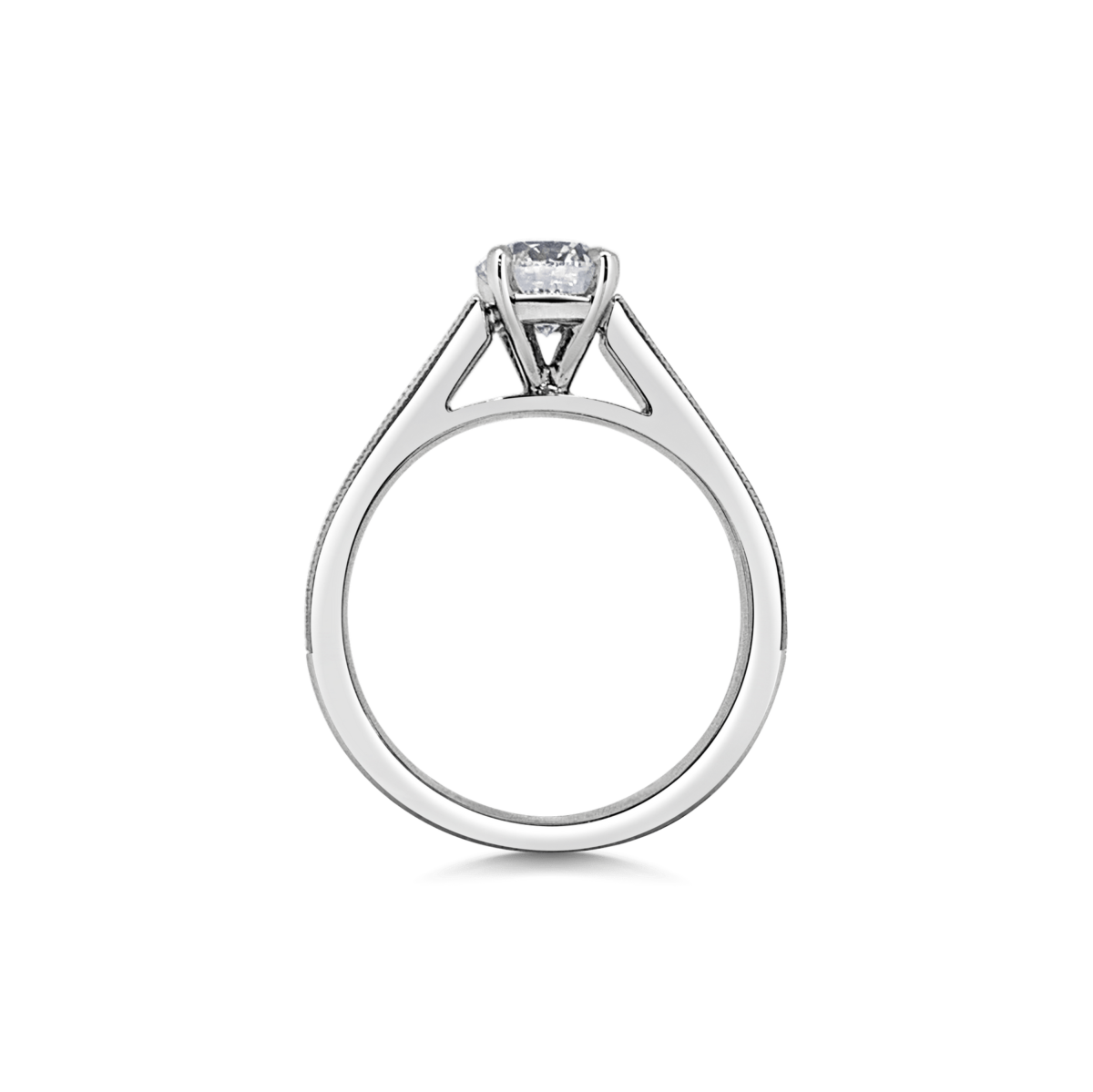 Lara Diamond Channel Set Shoulders with Double Milgrain Finish Engagement Ring Side View