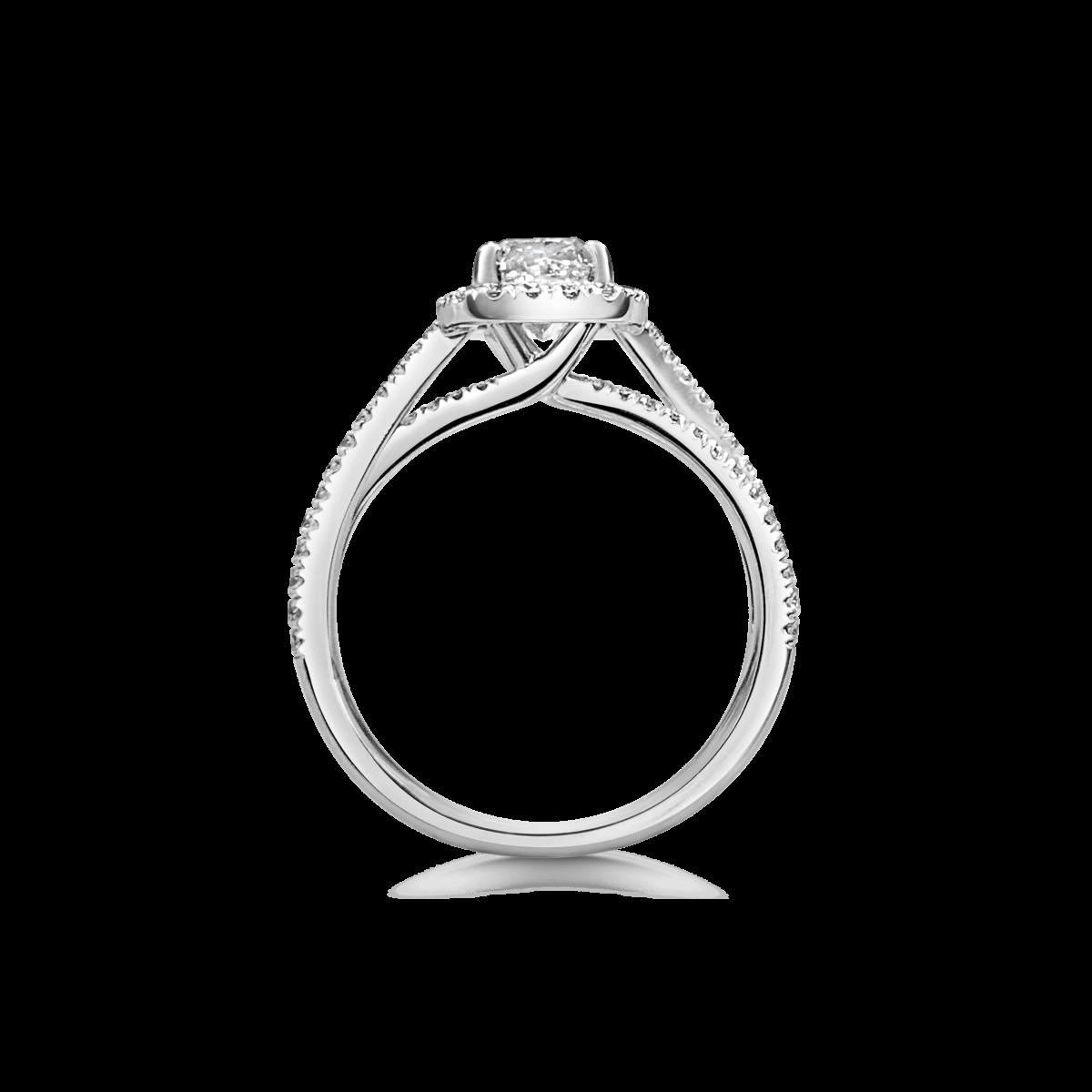 Lia Cushion Cut DIamond Halo Crossover Twist Split Microset Shoulder Engagement Ring Side View