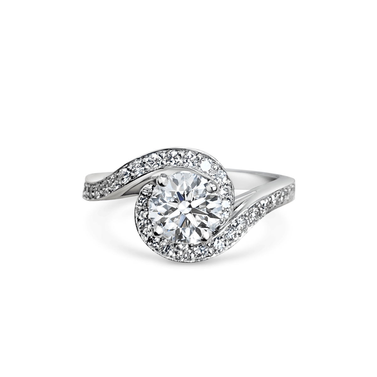 Liliana Round Cut DIamond Crossover Twist Microset Shoulder Engagement Ring Front View