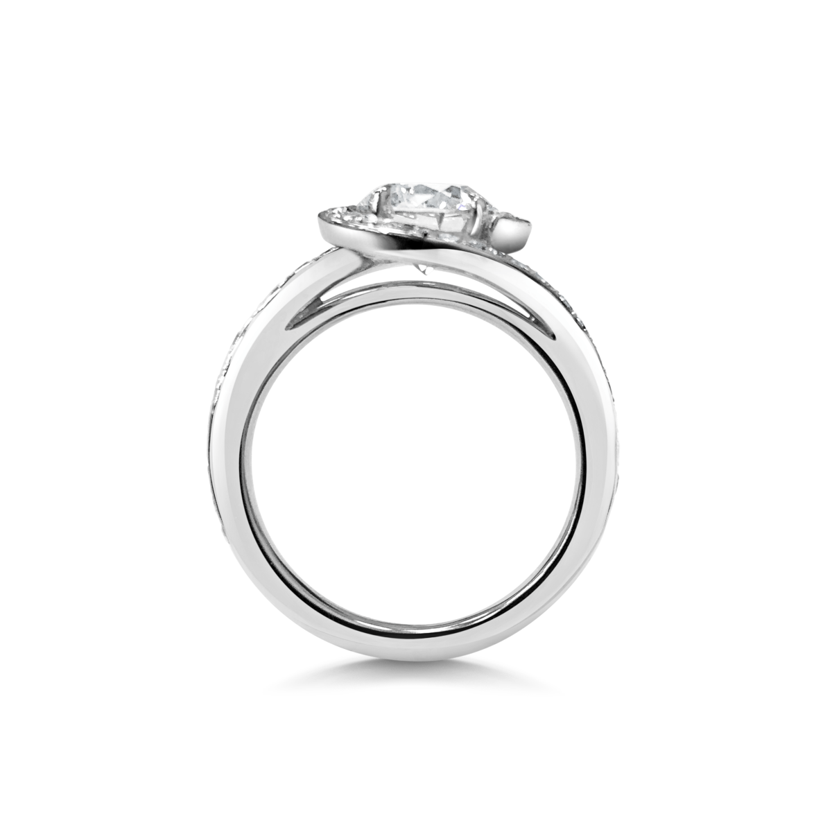 Liliana Round Cut DIamond Crossover Twist Microset Shoulder Engagement Ring Side View