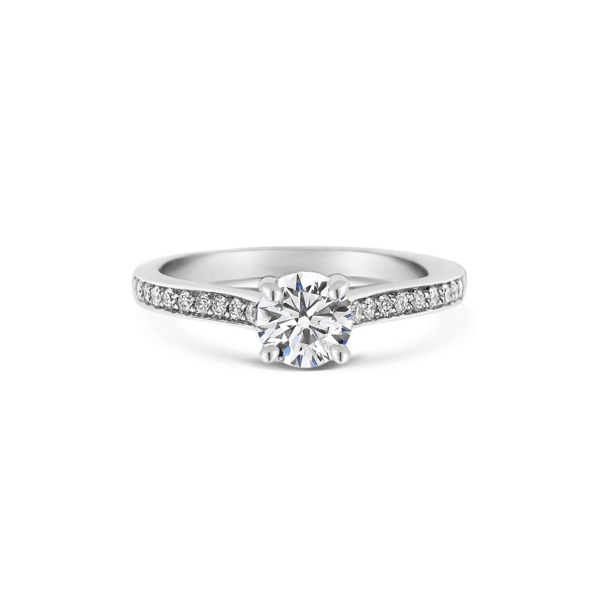 Noa Round Thread Shoulder Engagement Ring Front View