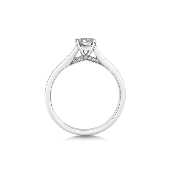 Noa Round Thread Shoulder Engagement Ring Side View