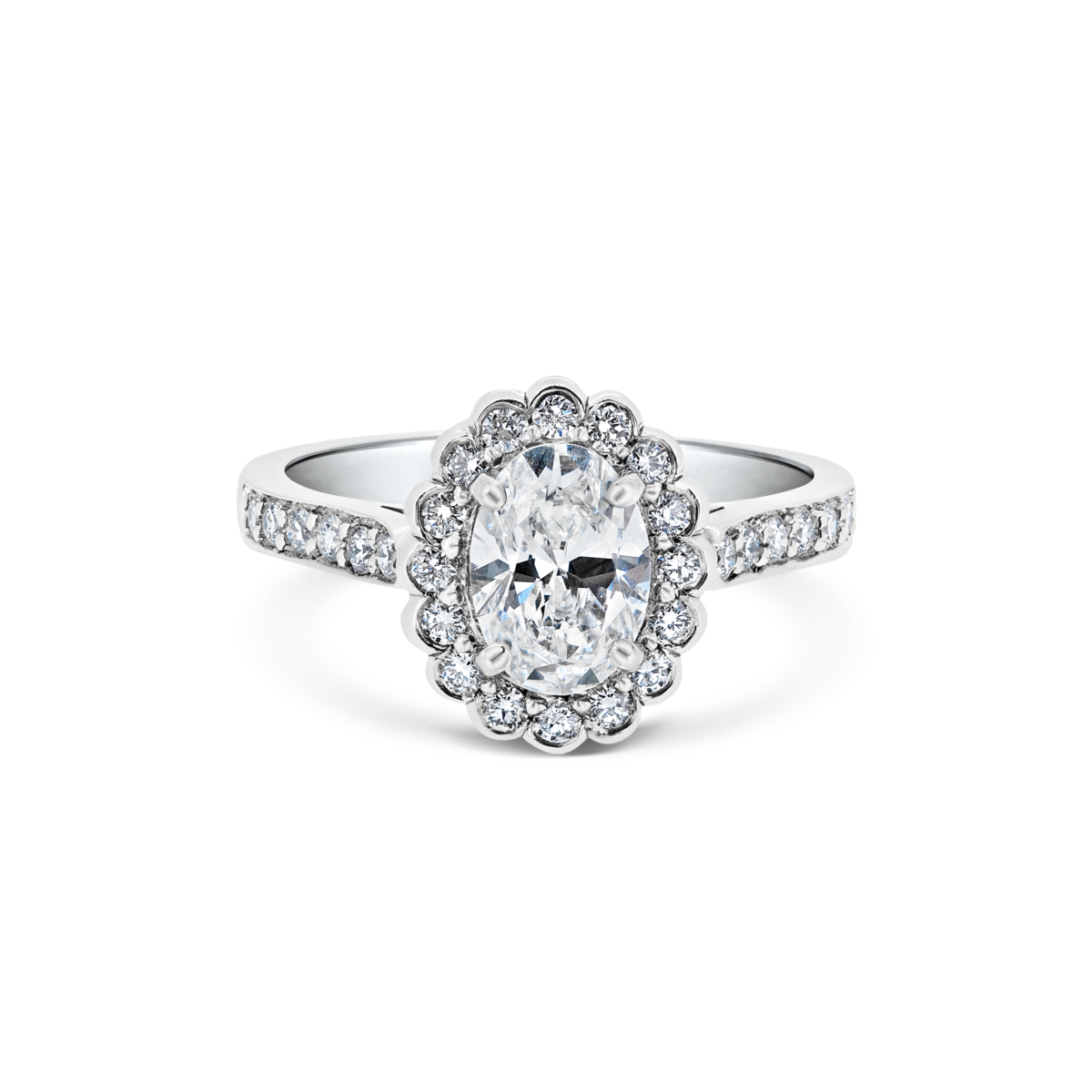 Odette Oval Cluster Microset Engagement Ring Front View