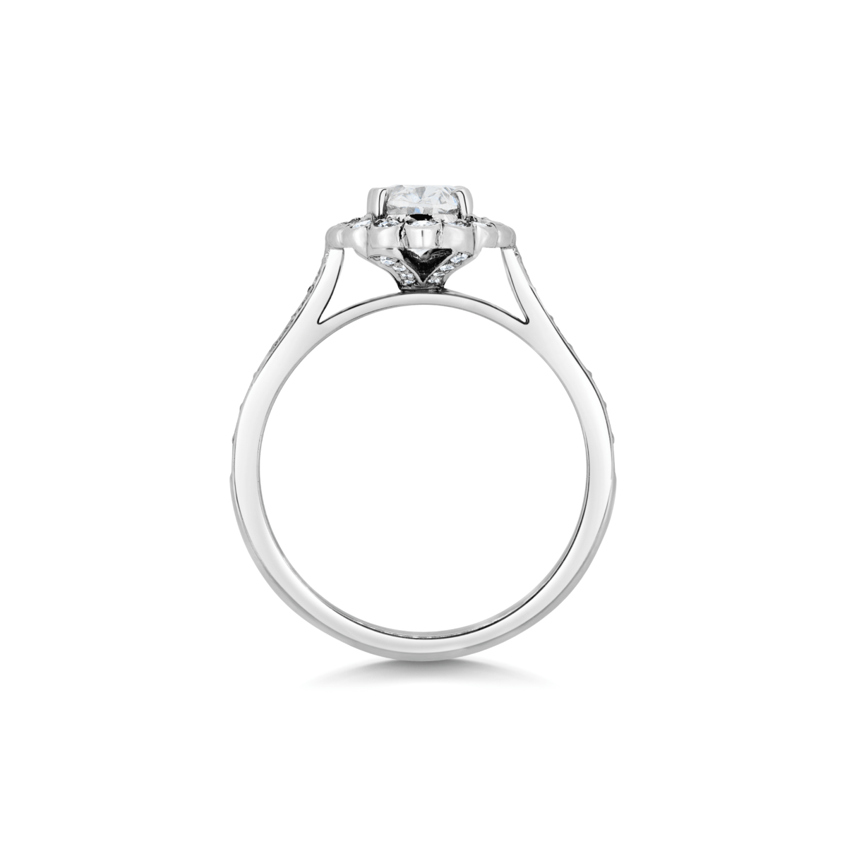 Odette Oval Cluster Microset Engagement Ring Side View