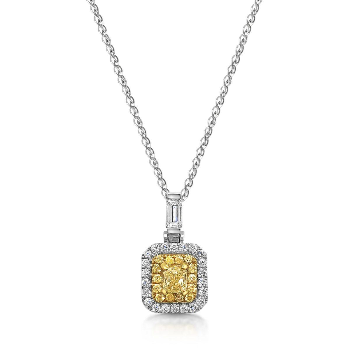Tallia Cushion Cut Natural Intense Yellow Diamond Double Halo Pendant
