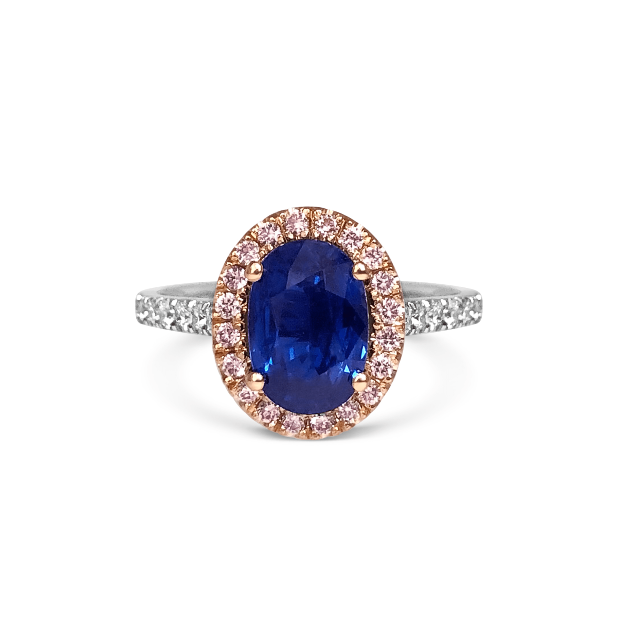 Paris Sapphire & Pink Diamond Halo Microset Engagement Ring Front View