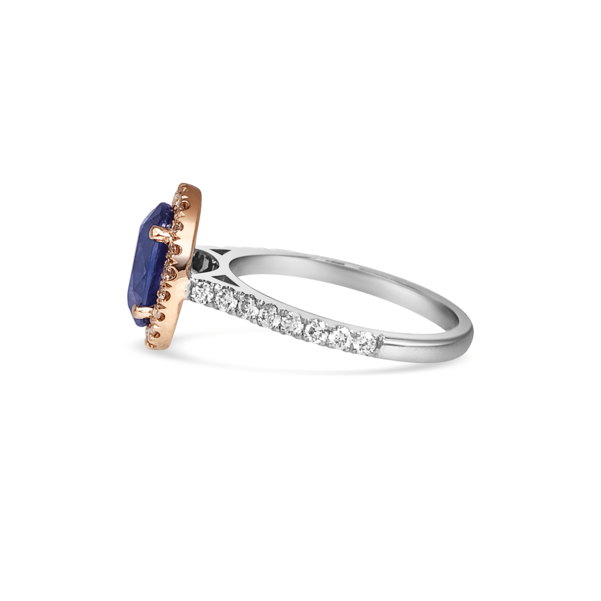 Paris Sapphire & Pink Diamond Halo Microset Engagement Ring Side View