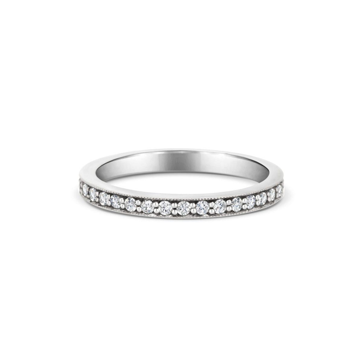 Rachel Round Cut Diamond Thread Milgrain Wedding Band