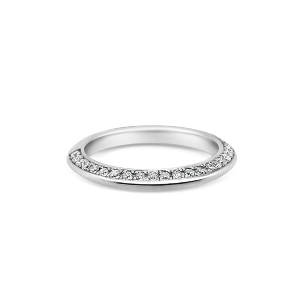 Rose Diamond Knife Edged Wedding Band Front View