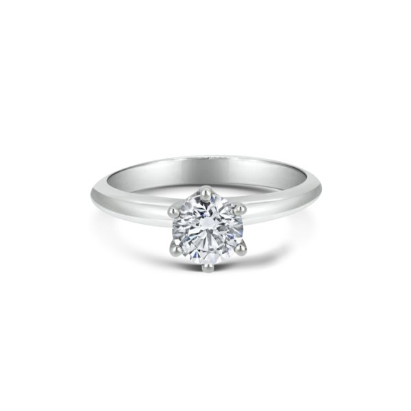 Rose Round Cut Diamond Six Claw Solitaire Engagement Ring