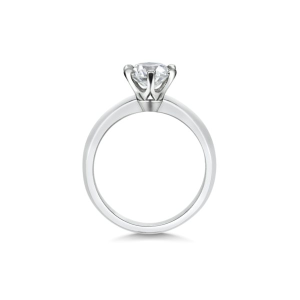 Rose Round Cut Diamond Six Claw Solitaire Engagement Ring Side View
