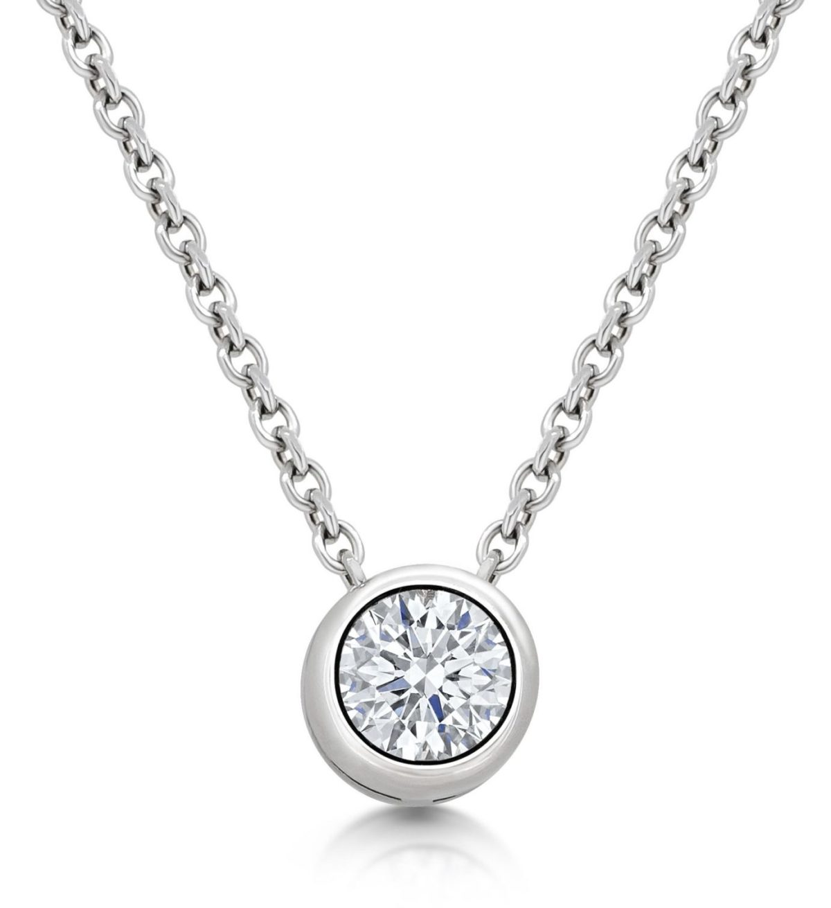 Claire Round Cut Diamond Solitaire Rubover Set Slider Pendant