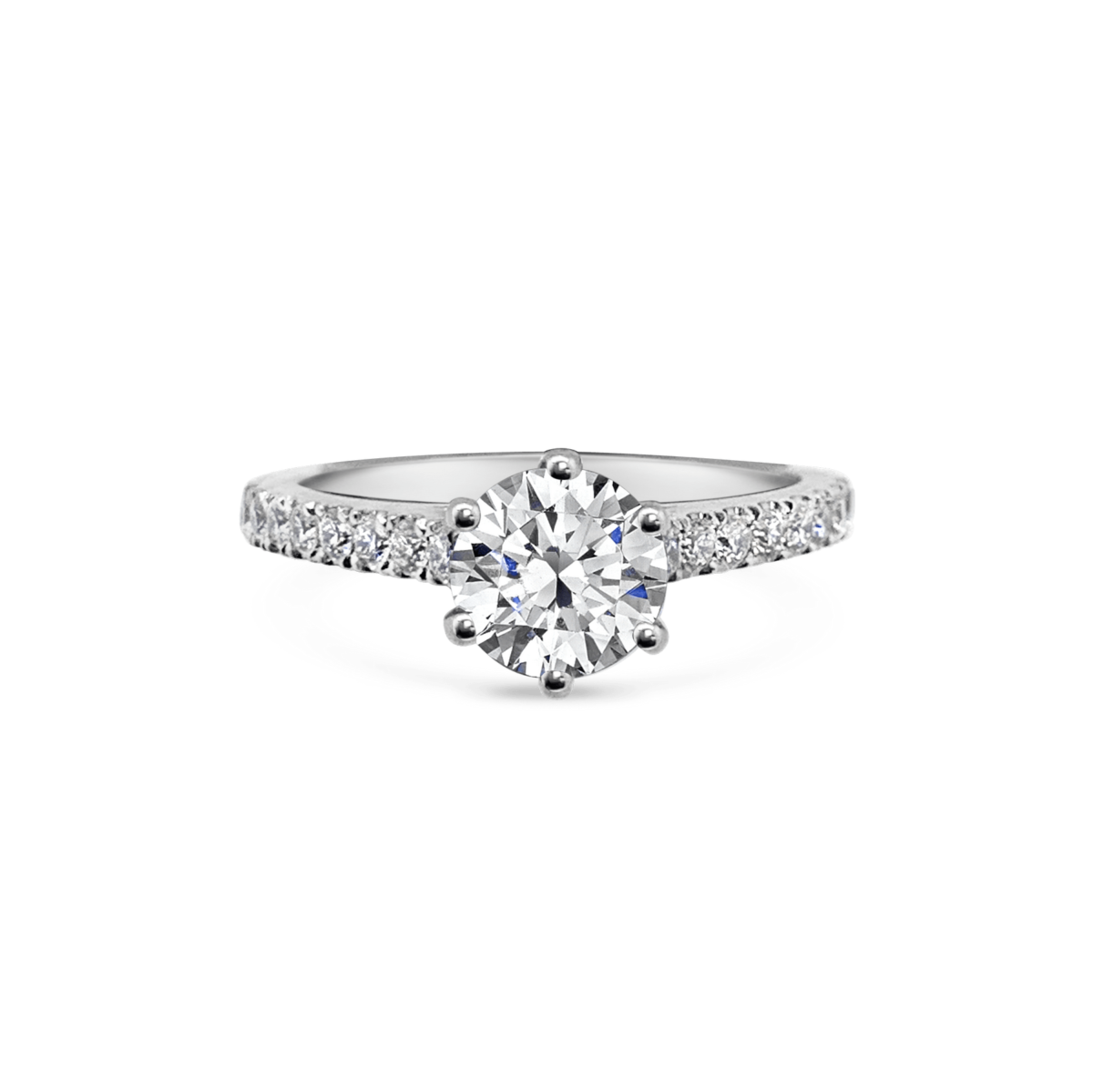 Dani Diamond Six Claw with Microset Shoulders Engagement Ring Front View