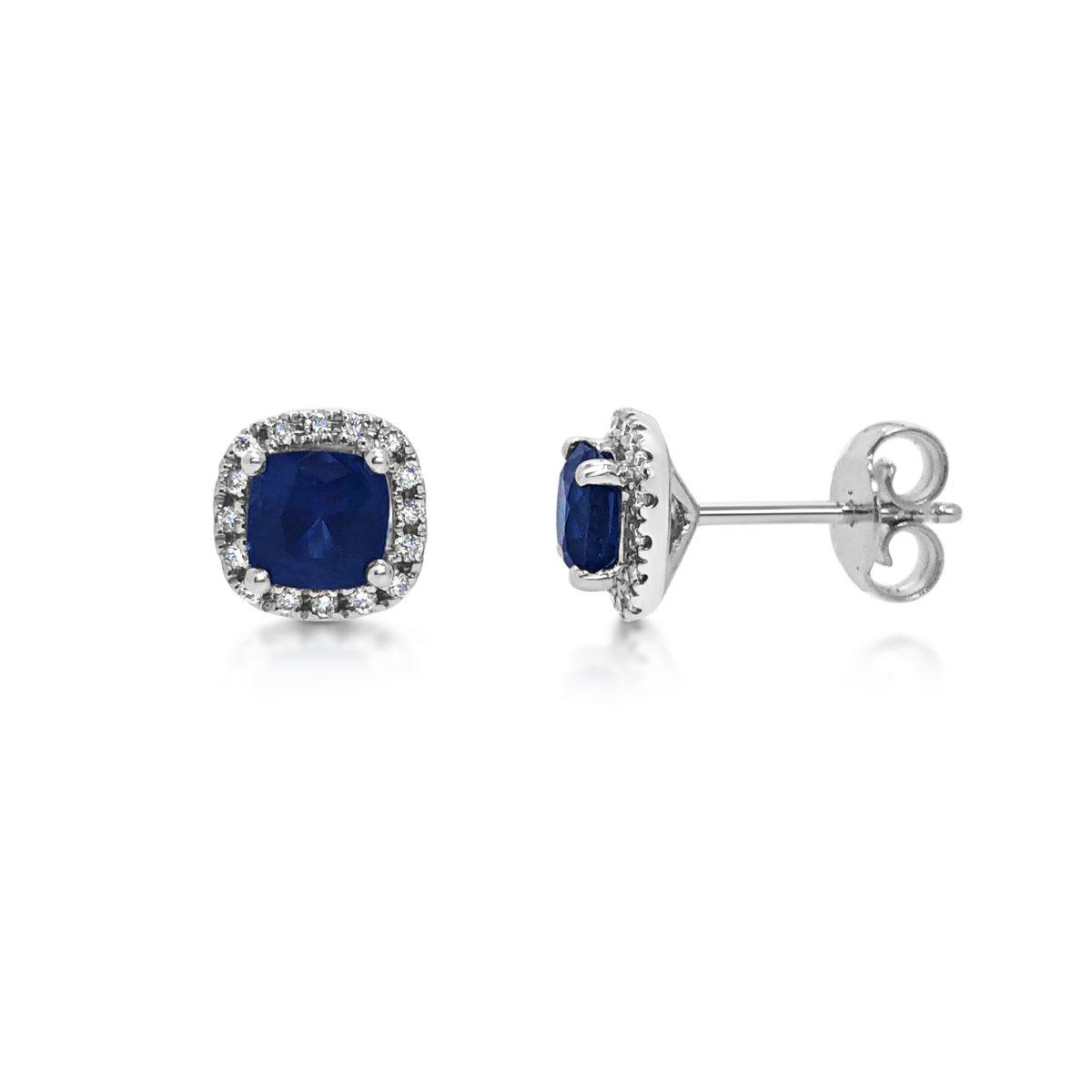 Sade Cushion Cut Blue Sapphire Diamond Halo Earrings