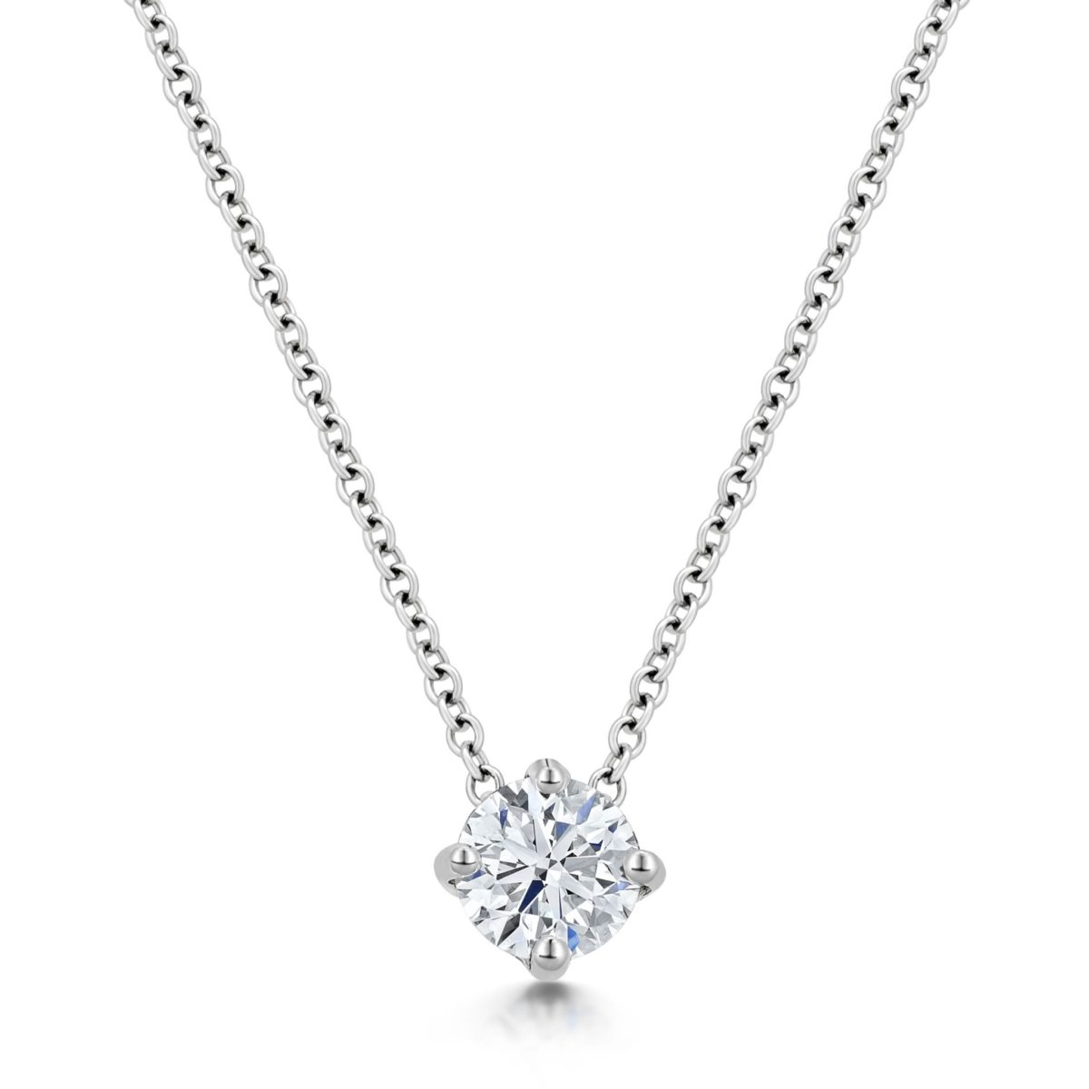 Caroline Round Cut Diamond Slider Solitaire Pendant