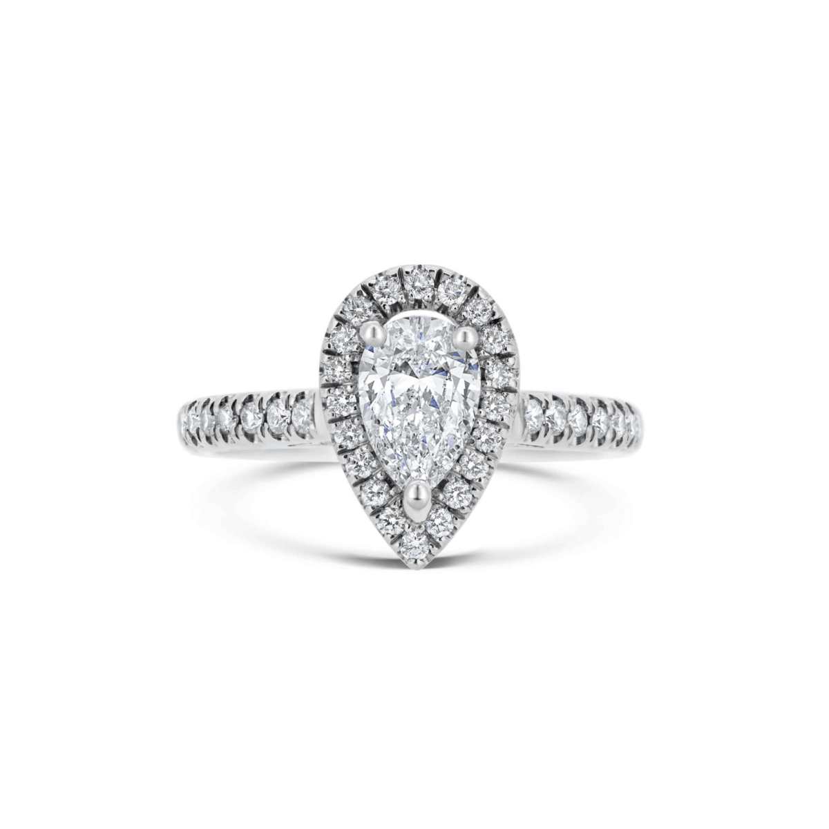 Tanya Pear Diamond Halo Microset Engagement Ring Front View