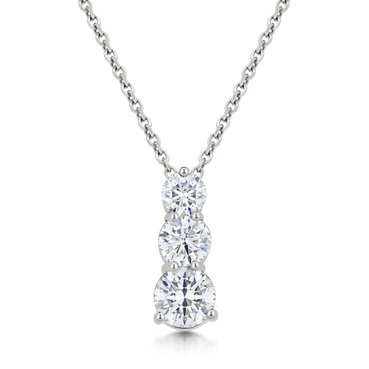 Maia Round Cut Diamond Graduated Trilogy Pendant