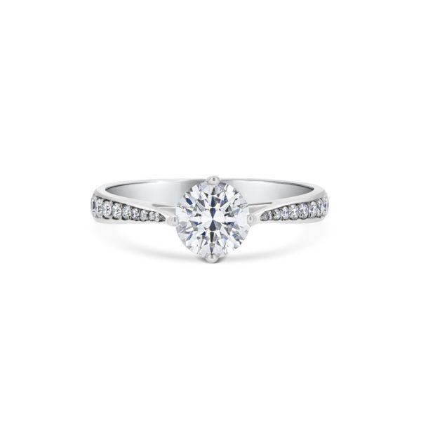 Victoria Round Cut Diamond Microset Shoulder Engagement Ring