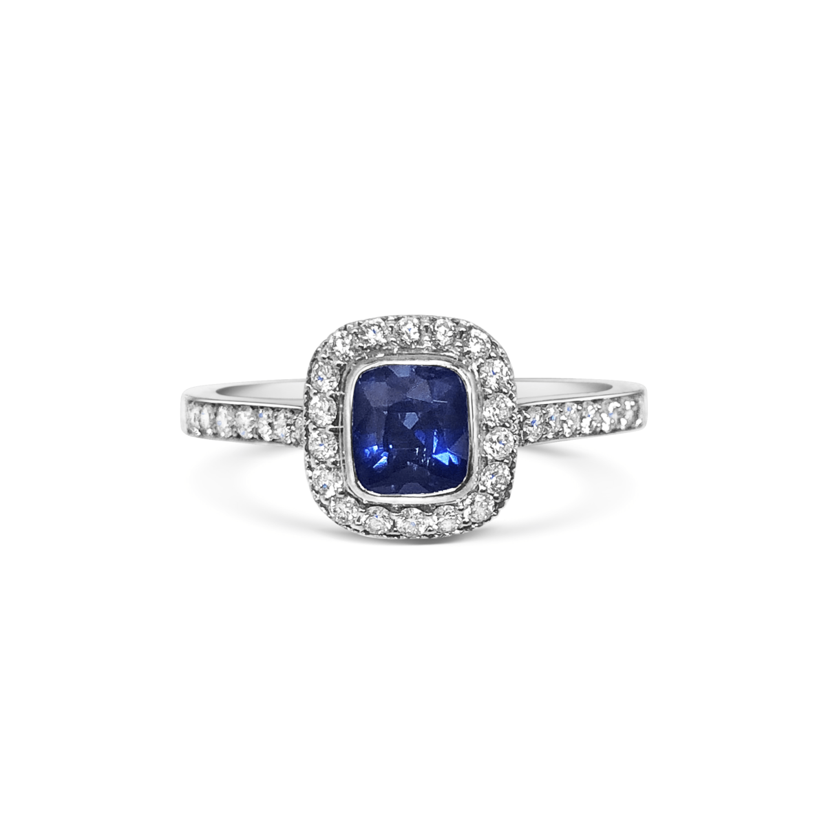 Zoe Cushion Blue Sapphire Rubover Halo Diamond Engagement Ring Front View