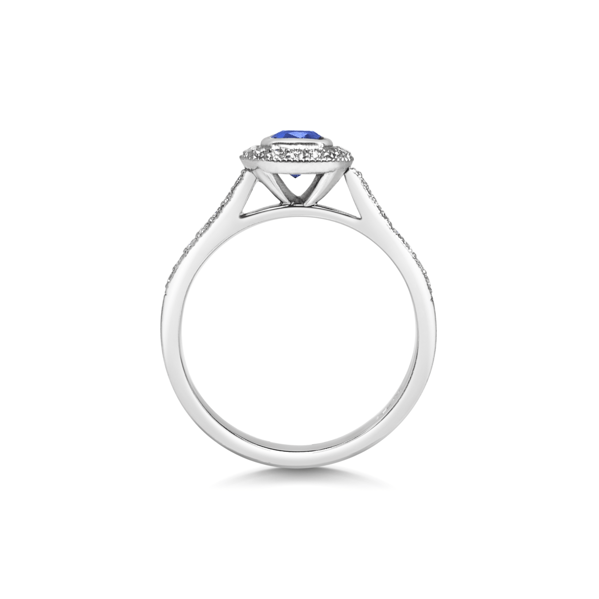 Zoe Cushion Blue Sapphire Rubover Halo Diamond Engagement Ring Side View