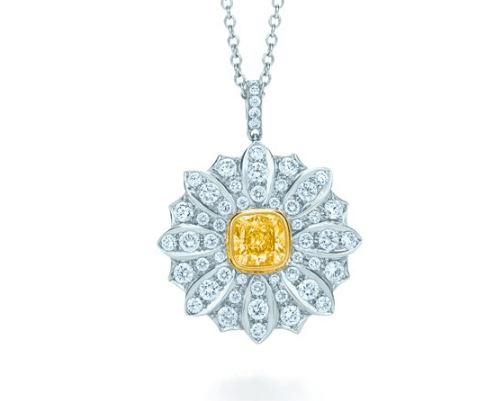 Zuri Natural Yellow Cushion Diamond Flower Pendant