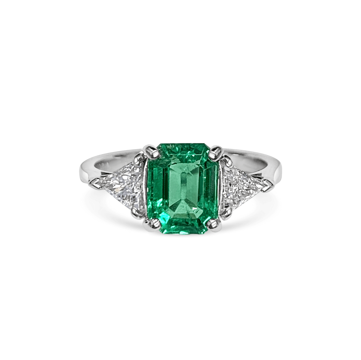 Rachelle Green Emerald Cushion Triangle Diamond Three Stone Engagement Ring Front View