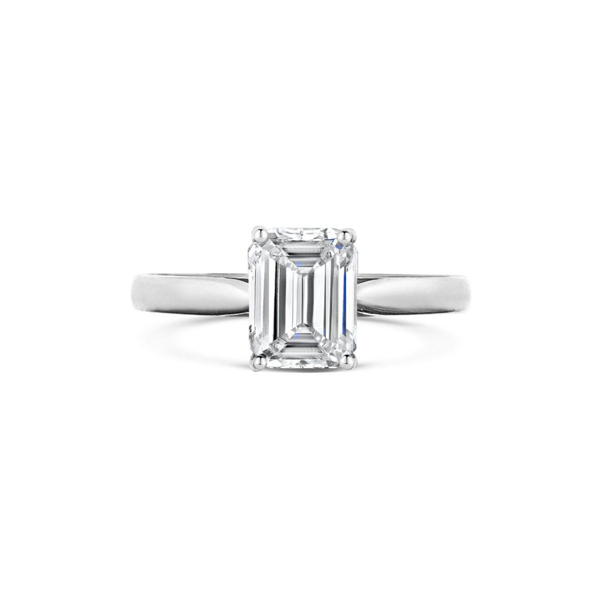 Belle Emerald Cut Diamond Solitaire Engagement Ring