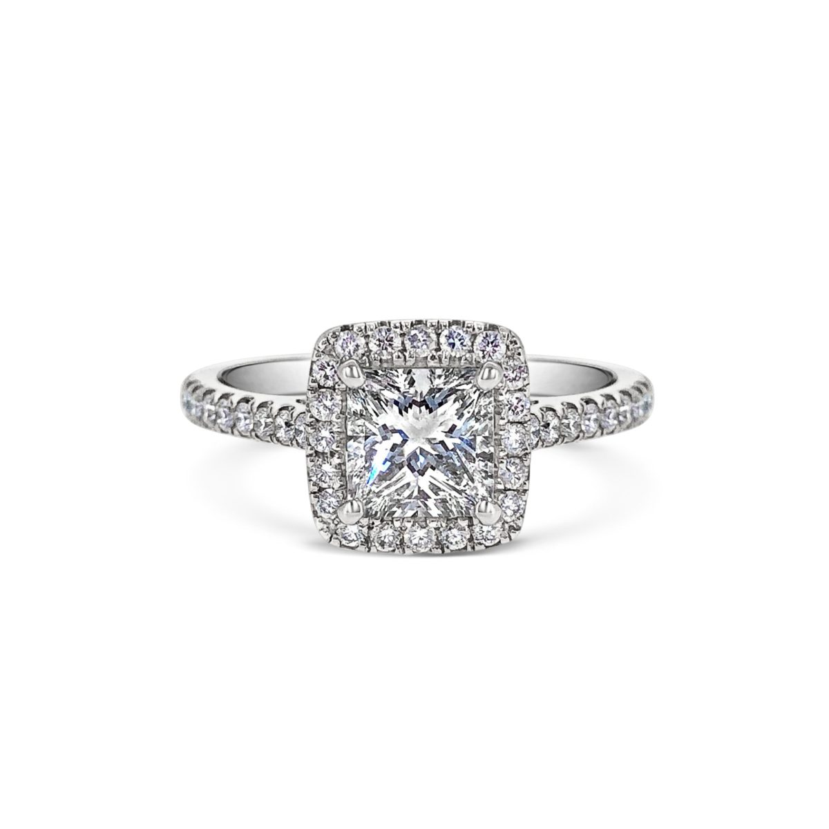 Alise Princess Cut Diamond Halo Microset Engagement Ring