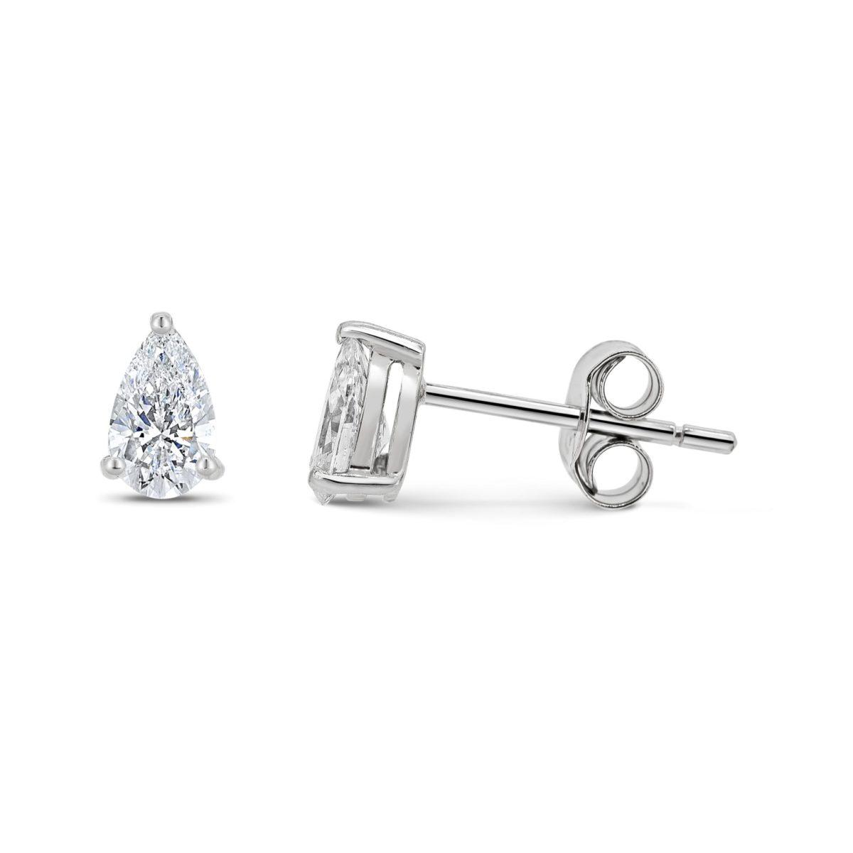 Sarah Pear Cut Diamond Solitaire Claw Set Earrings
