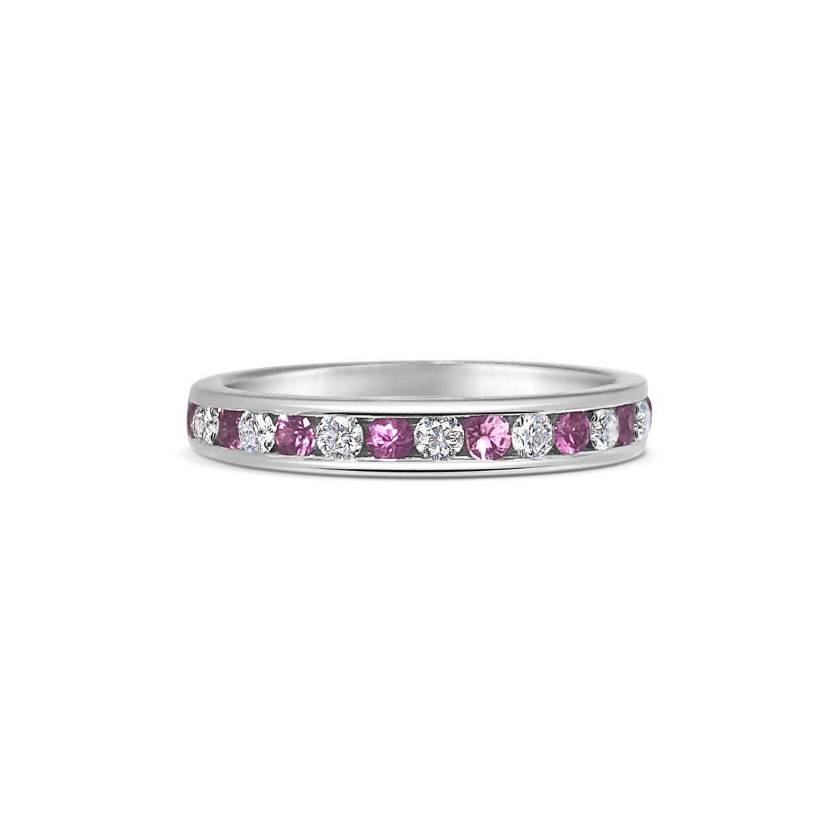 Mia Pink Sapphire & Diamond Channel Set Eternity Ring