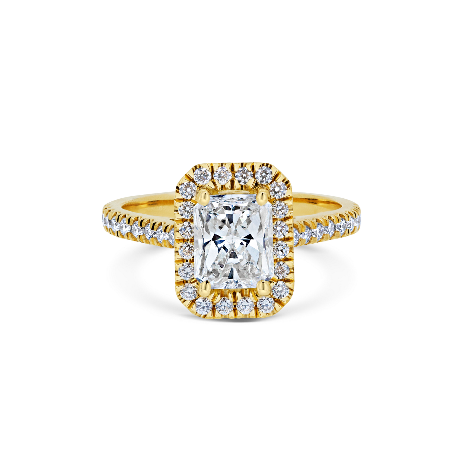 Alise Radiant Cut Diamond Halo Microset Engagement Ring Front View