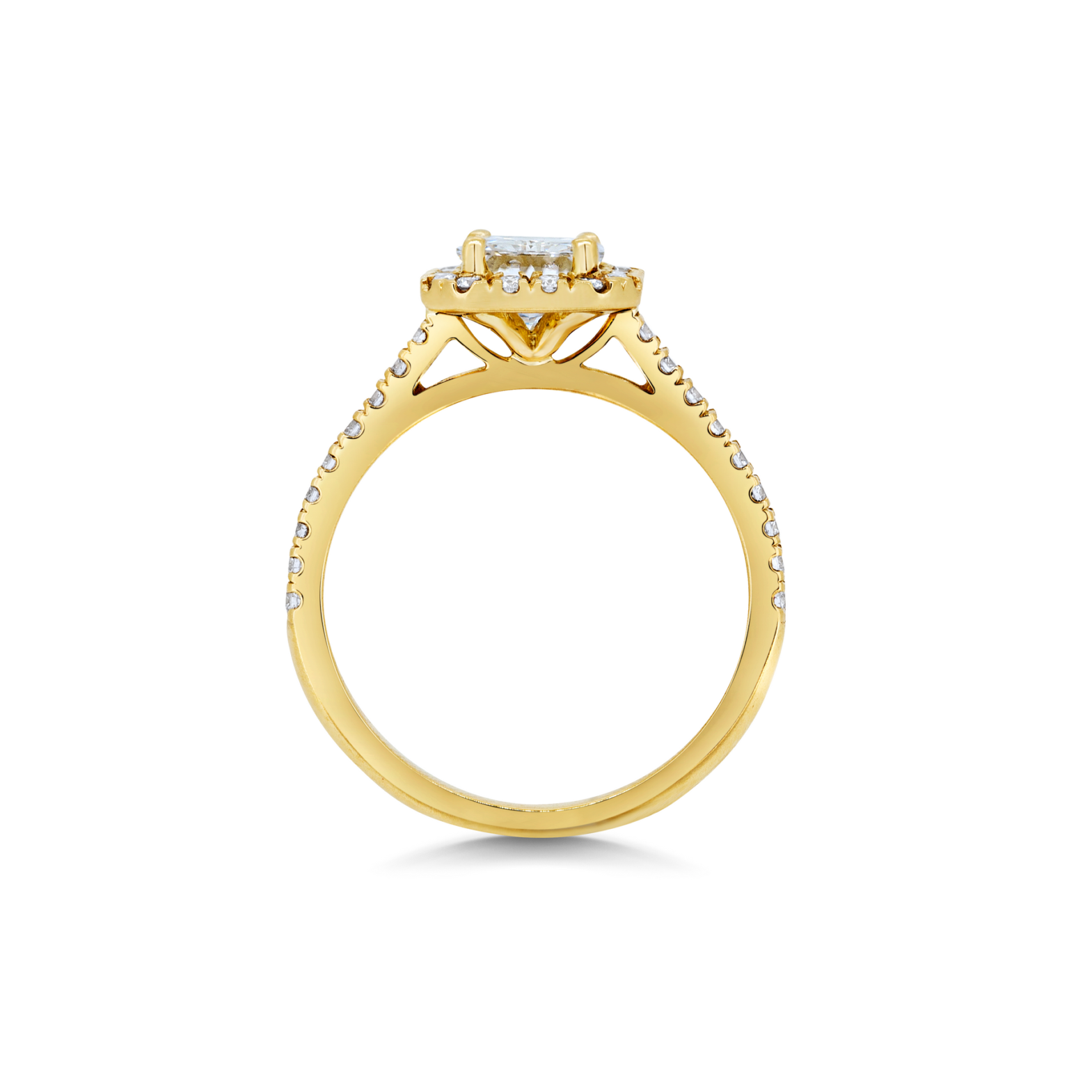 Alise Radiant Cut Diamond Halo Microset Engagement Ring Side View