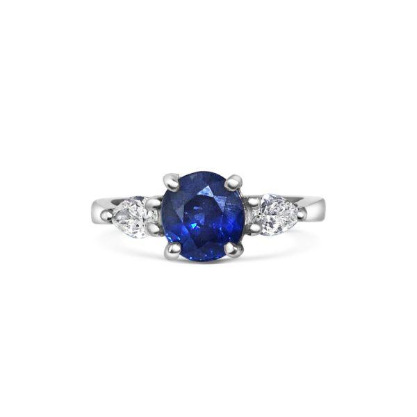 Seren Round Cut Blue Sapphire Pear Diamond Three Stone Engagement Ring
