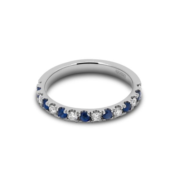 April Sapphire & Diamond Microset Wedding Band