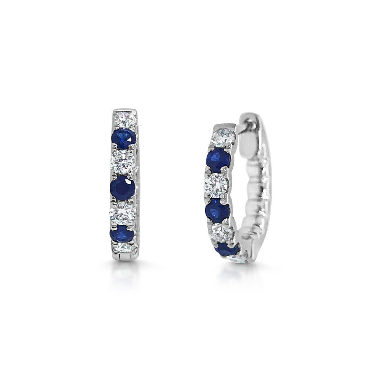 Cara Round Cut Blue Sapphire & Diamond Hoop Earrings
