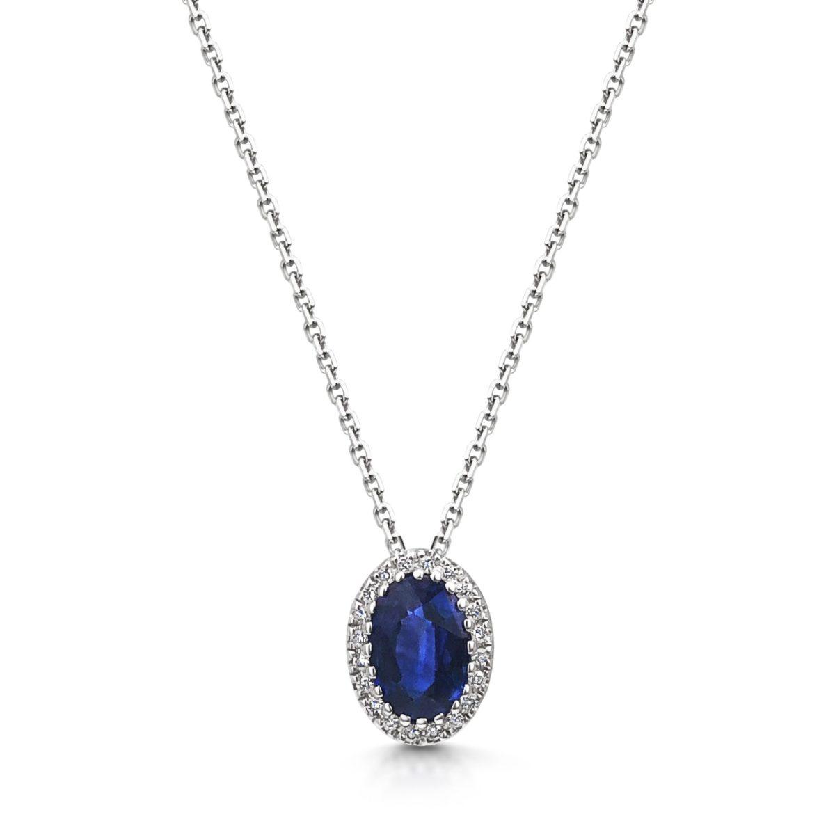 Shari Oval Blue Sapphire Diamond Halo Microset Pendant