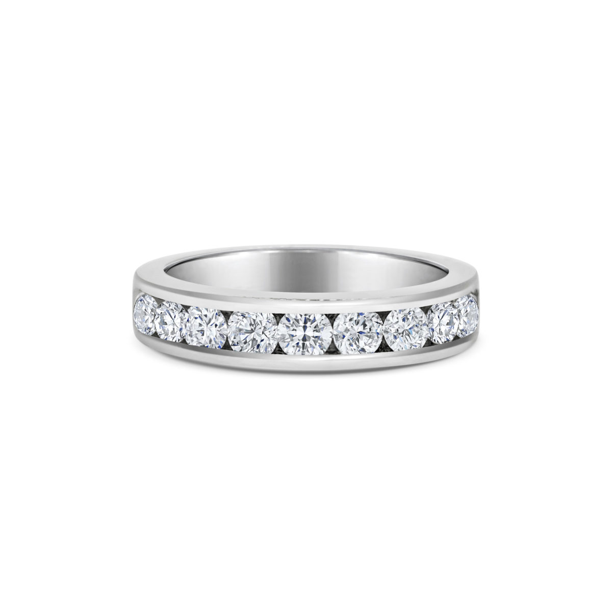 Adele Round Cut Diamond Channel Set Eternity Ring Front View
