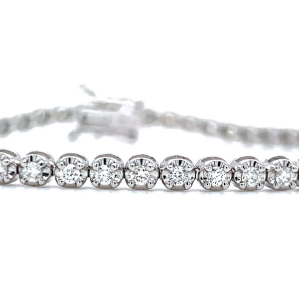 Angelica Round Cut Diamond Claw Set Tennis Bracelet 2