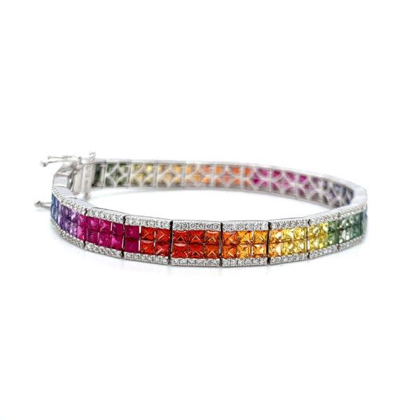 Avia Multi Coloured Sapphire Tennis Bracelet