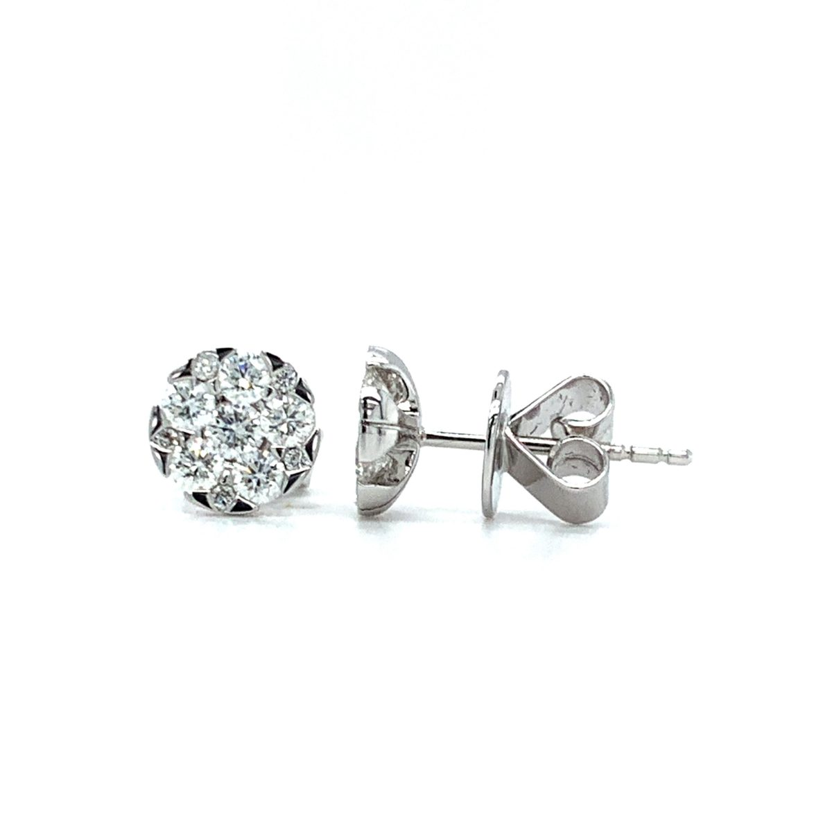 Bethy Round Cut Diamond Cluster Set Earrings