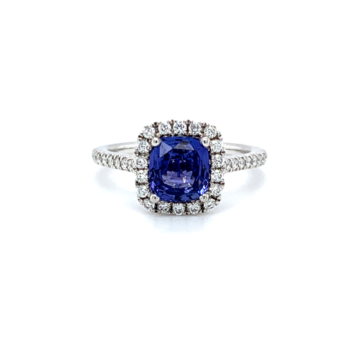 Bow Cushion Cut Blue Sapphire Halo Engagement Ring