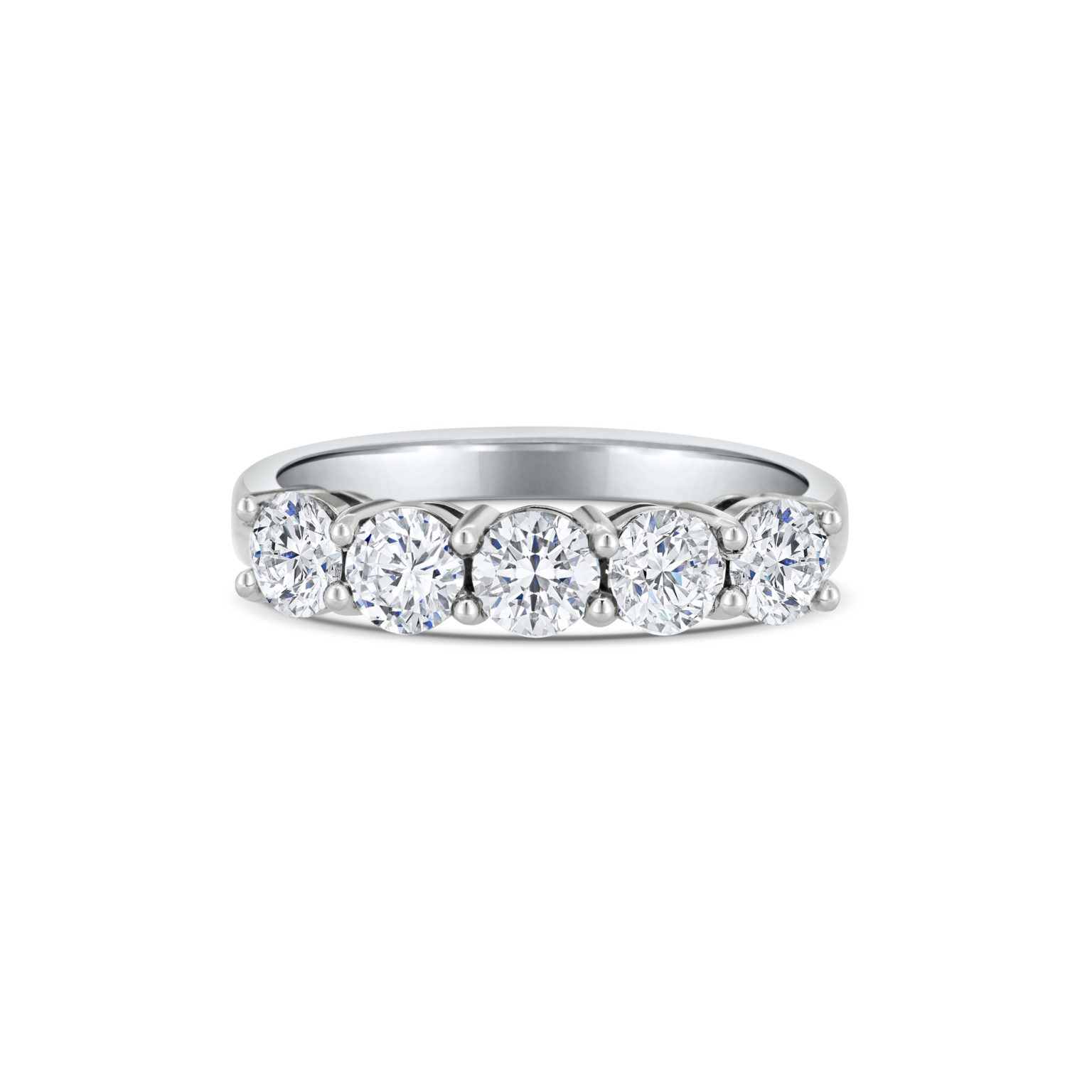 Claudette Round Cut Diamond Five Stone Claw Set Eternity Ring Front View