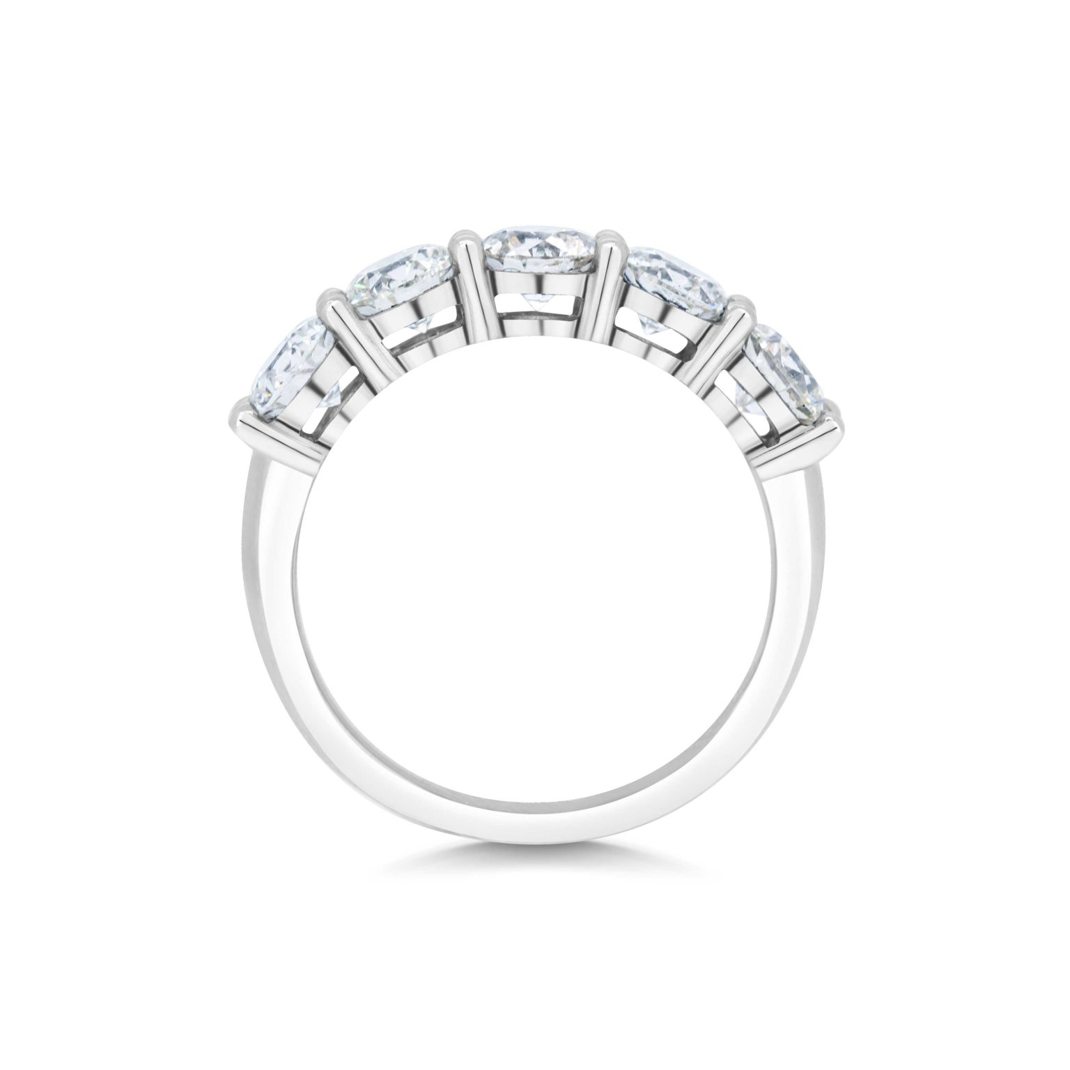 Claudette Round Cut Diamond Five Stone Claw Set Eternity Ring Side View