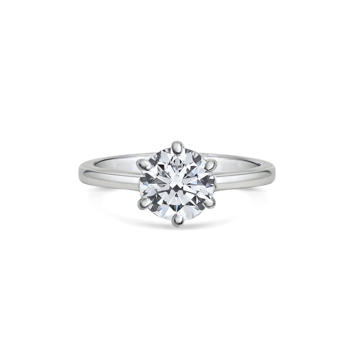 Elena Round Cut Diamond Six Claw Twist Solitaire Engagement Ring