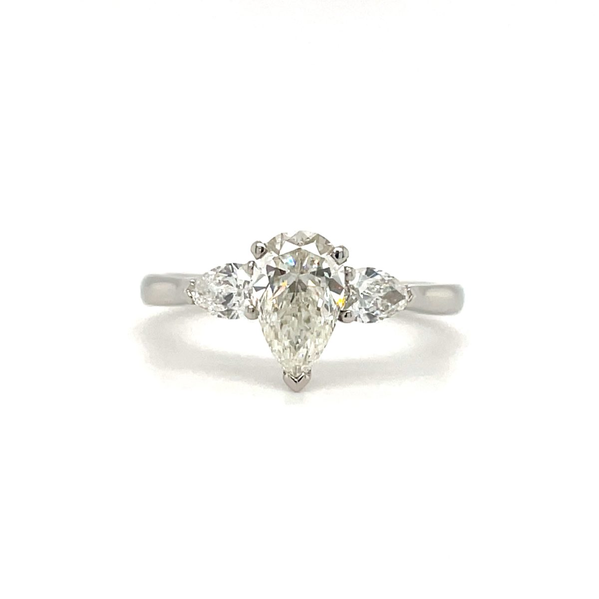 Elsa Pear Cut Diamond Three Stone Pear Engagement Ring Side (2)