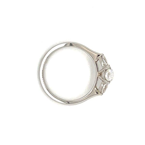 Elsa Pear Cut Diamond Three Stone Pear Engagement Ring Side (3)