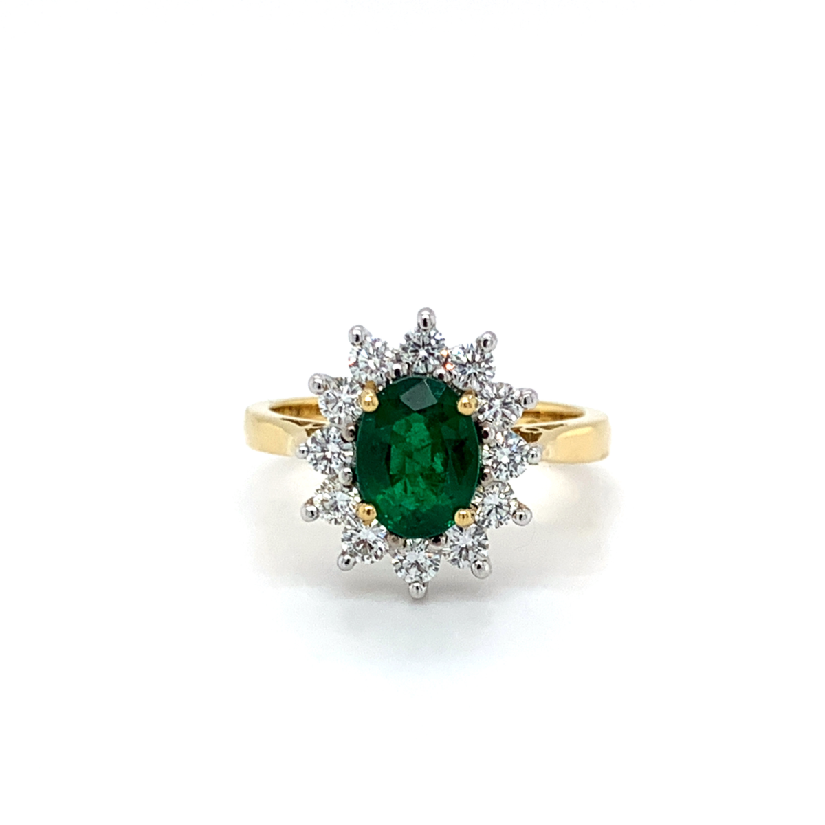 Emms Oval Cut Green Emerald Diamond Cluster Engagement Ring