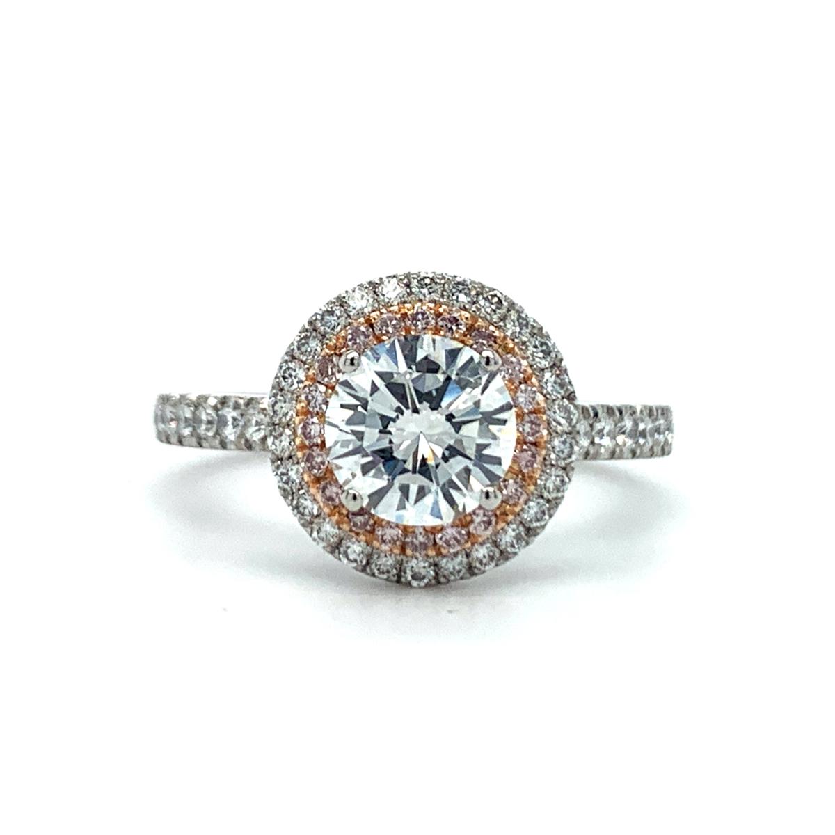 Fara Round Cut Diamond Pink Diamond Double Halo Engagement Ring