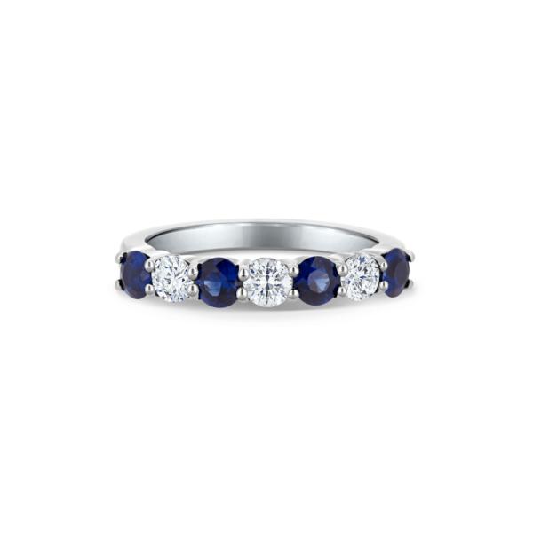 Fau Round Cut Diamond & Blue Sapphire Seven Stone Eternity Ring